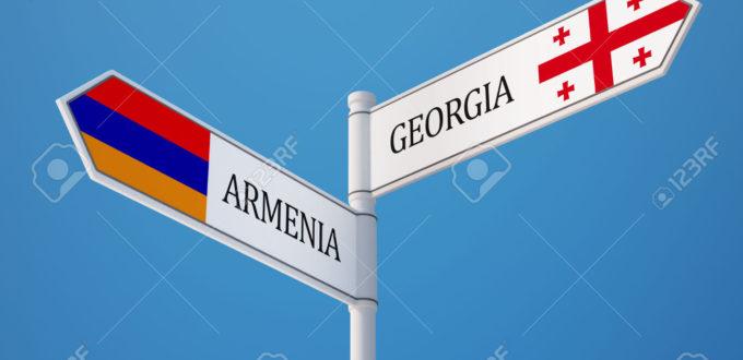 Armenia Georgia High Resolution Sign Flags Concept